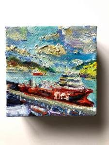 """""""Gummy Ships"""", a mini painting by Irene Duma. x x oil on canvas, with painted sides. The light was so beautiful in the St. John's harbour, the ships lit up like gummy bears. Canadian Painters, Mini Paintings, Gummy Bears, Affordable Art, St John's, Newfoundland, Oil Painting On Canvas, Irene, Art For Sale"""