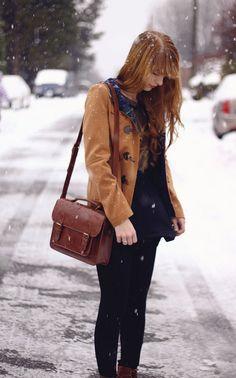 duffle coat + satchel