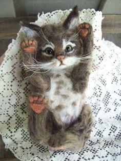 NEEDLE-FELTED-BROWN-TABBY-KITTEN-CAT-LIFE-SIZE-OOAK-BY-ARTIST