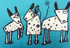 Dalmatians   1st grade geometric shapes with black marker. From Cedar Creek Elementary