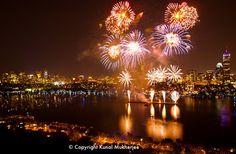 Boston fireworks in the Charles River next to the Esplanade - photo credit Kunal Mukherjee