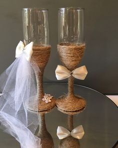 Bride and groom ivory and white champagne glasses for rustic or country style wedding! https://www.etsy.com/listing/270933226/free-shipping-set-of-two-rustic-wedding?ref=shop_home_active_22