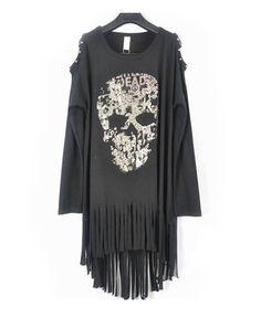 Longline Skull Print T-shirt with Studded Cold Shoulders Back Skull cut-out and Fringe Hem