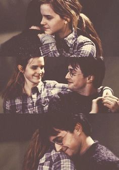Harry and hermione... He is so pained to see her upset he dances with her to make her happy even tho he really sucks at dancing!