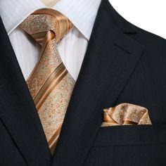 "Landisun SILK Paisleys Mens Silk Tie Set: Tie+Hanky 10L Copper Novelty Pattern, 3.75""Wx59""L ... #Mens #Fashion #MensFashion #Accessories #Ties #Socks #Jewelry"