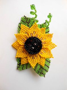 Beaded Brooch Sunflower brooch flower bead by BeadedJewelryVirunia