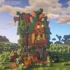 Casa Medieval Minecraft, Minecraft Mansion, Minecraft Cottage, Cute Minecraft Houses, Minecraft House Tutorials, Minecraft City, Minecraft Plans, Amazing Minecraft, Minecraft Survival