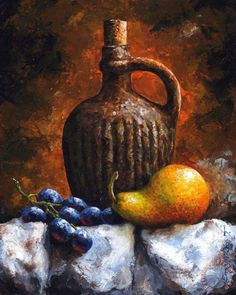 Old bottle and fruit II Painting by Emerico Toth