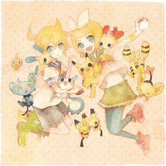 Vocaloid×Pokémon: Kagamine Rin and Len, Shinx, Rotom, Plusle, Minun, Pachrisu, Pikachu, Pichu, Elekid (by Pechika, Pixiv Id 40766)