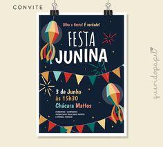 Convite Festa Junina, Festa Junina, Festa Julhina, Convite Arraiá