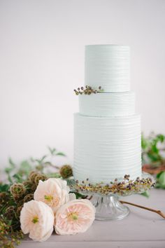 Cake inspiration - Mine will be this color and texture (same cake stand) with flowers in the middle and trailing greenery