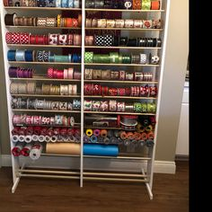35 Genius Storage Ideas for Small Spaces to Make your Home Feel Bigger - The Trending House Ribbon Organization, Ribbon Storage, Diy Ribbon, Craft Organization, Ribbon Display, Organizing Life, Paper Storage, Craft Room Storage, Craft Rooms