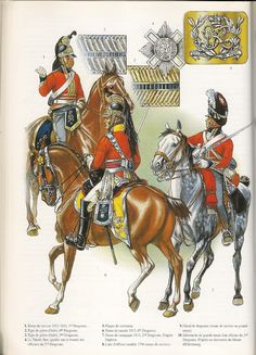 British cavalry, from left: and Dragoons, the and being part of Wellington's heavy cavalry at Waterloo. They are wearing the 1812 uniforms / Image Uploaded By Tapatalk British Army Uniform, British Uniforms, British Soldier, Waterloo 1815, Battle Of Waterloo, Military Art, Military History, Military Uniforms, Bataille De Waterloo