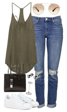 """""""Outfit for boyfriend jeans"""" by ferned on Polyvore featuring Topshop, Enza Costa, Prada, adidas and Yves Saint Laurent"""