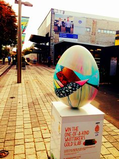 """""""Sliver"""" by Meghan Geliza for the 2014 Whittaker's Big Egg Hunt New Zealand  #painting #popsurrealism #acrylics #colour #sculpture #3D #Christchurch #NewZealand"""