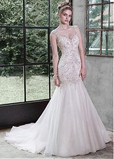 Buy discount Gorgeous Organza V-neck Neckline Mermaid Wedding Dress With Embroidery & Rhinestones at Dressilyme.com