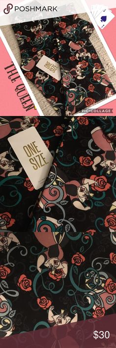 ❤️Queen of Hearts! LulaRoe OS Leggings!❤️ ❤️LulaRoe Disney Villian One Size Leggings ~ The Queen of Hearts ~ This black- based pair is wrapped with pink roses around this vindictive villain ~ These bottoms might behead but your legs will love her!❤️ *Cross posted to another site  All leggings are bought brand new from consultants and arrive with or without tags. Each pair is closely inspected and never, ever worn!:-) LuLaRoe Pants Leggings
