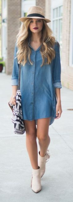 Denim shirt dress. 57 Great Fall Outfits On The Street 2015 — Style Estate