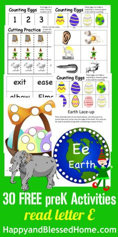 Letter E: Over 1,300 Pages of FREE A-Z printables and 800 Activities for teaching preschoolers and kindergarteners how to read with coloring, matching, games, crafts and activities from HappyandBlessedHome.com