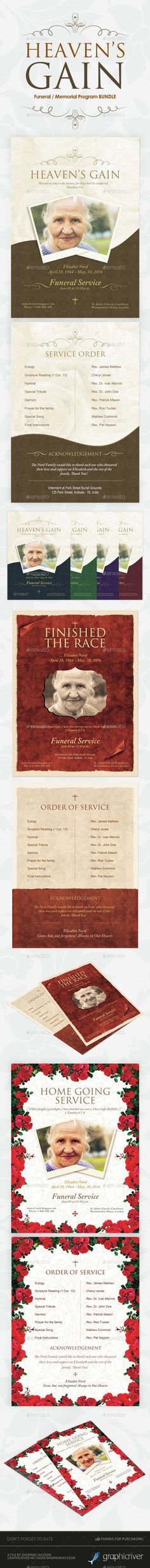 Funeral / Memorial Program Templates  BUNDLE V.2 — Photoshop PSD #church #funeral template • Available here → https://graphicriver.net/item/funeral-memorial-program-templates-bundle-v2/14693405?ref=pxcr