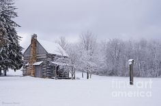 Fine Art Print - Snowy Cabin  A beautiful snow scene of a primitive log cabin located in Ghent, West Virginia    Log Cabin, Winter, Snow, Log Cabin in Snow, Primitive, Rural, Country, Snowscape, Snow Covered Trees, Snowy, Snow Storm, Wintery, Icy, Americana, Pioneer, Pioneer Cabin, 1800's, Expired Architecture, Facebook Benanne Stiens Photography and More