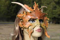 double layer leather horn leaf mask by TBTOBEDESIGNED1 on Etsy