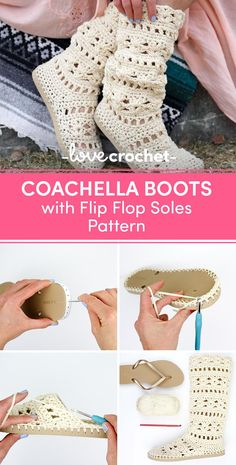 This lacy cotton crochet boots pattern will complete your boho-inspired outfits all spring and summer long! Make them with flip flop soles for the most comfortable, airy boots you've ever worn. (They make great slippers too!) Very detailed photo tutorial walks you through each step of the process. Find this pattern at LoveCrochet and let us know if you tried it by repinning this post! #MyPinterest #LoveCrochet