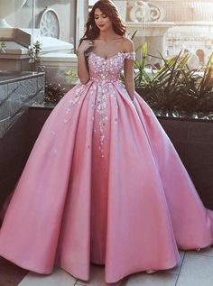 Pink Prom Dresses,Off the Shoulder Prom Gown,Ball Gown Prom Dress,Appliques Prom Dresses,Satin Prom Dress Pink Wedding Dresses, Prom Dresses 2018, Ball Gowns Prom, Ball Dresses, Gown Wedding, Pink Dresses, Dress Prom, Bridal Dresses, Gown Dress