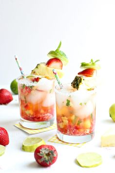Sparkling Strawberry Pineapple Mocktail with Mint and Lime
