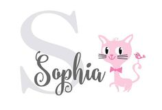 Cats Custom Name Wall Decal  Personalized Name Nursery Decal
