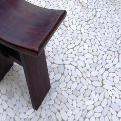 sliced white pebble tile