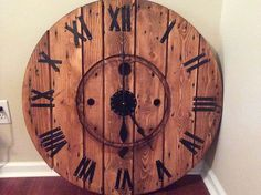 Diy Large Cable Spool Wall Clock