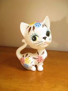 Vintage Ceramic Cat Figurine or Statue, Kitten, Kitty, Large, Mid Century, Modern, made in Japan. $26.00, via Etsy.