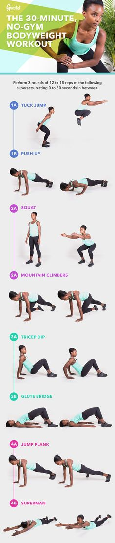 Tight on time, and no gym in sight? All you need is 30 minutes to break a sweat with this... #fitness #bodyweight #workout http://greatist.com/fitness/no-gym-bodyweight-workout-infographic