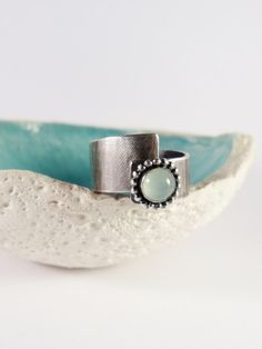 Aqua calcite ring green stone silver ring handcrafted by Mirma #silver -  ooak  #handmade  ring