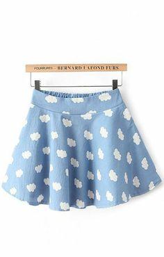 Clouds Printing Sweet Skirt