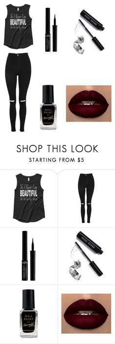 """Untitled #12"" by nightmare-sans on Polyvore featuring Topshop, Giorgio Armani, Bobbi Brown Cosmetics and Barry M"