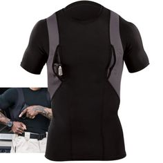 Tactical Stow-Away Holster Shirt 40011 is designed to provide a quick, comfortable, and covert solution for concealed carry wear in casual or off-duty environments. Tactical Holster, Tactical Shirt, Tactical Clothing, Gun Holster, Tactical Gear, Tactical Knife, Tactical Equipment, Holster Shirt, Shooting Clothing