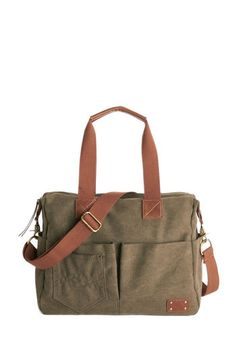 There's a Pocket for That Bag. Organization on-the-go is a given with this canvas bag on your arm! #gold #prom #modcloth