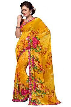 Plushy Yellow Georgette Printed Saree