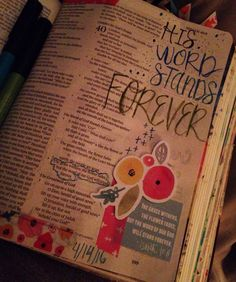 The grass withers, the flower fades, but the word of OUR God will stand forever. Isaiah 40:9 I love me some late night journaling in my comfy bed!  illustratedfaith #biblejournaling #biblejournalingcommunity #bibleart