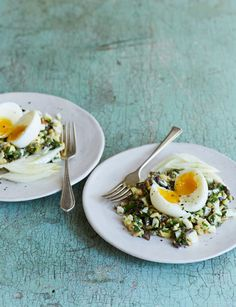 This egg salad recipe with anchovies, olives and pine nuts makes a great summery starter. Pine Nut Recipes, Egg Recipes, Salad Recipes, Breakfast Nachos, Food Shows, Egg Salad, Spicy, Veggies, Appetizers