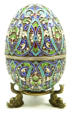 Russian silver enameled egg box decorated throughout with vivid multicolor enamel floral scroll design.