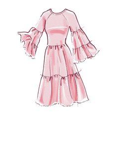 Tiered pull-over sheer dresses with elastic neckline & raw hems Dress Design Drawing, Dress Design Sketches, Fashion Design Sketchbook, Fashion Illustration Sketches, Fashion Design Drawings, Fashion Sketches, Fashion Art, Fashion Outfits, Ankara Fashion