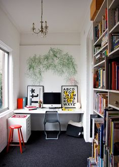 home office ideas - white office with pops of primary colours. Office Nook, Cool Office, Home Office Space, Home Office Design, House Design, Office Ideas, Small Office, Desk Nook, Corner Office