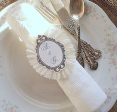 Wedding Rings. 10 Ruffled Napkin Rings with Script Paper and Initials on Etsy, $14.00