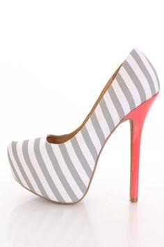 Light Grey Striped Fabric Pointy Toe Platform Pumps Heels- http://www.amiclubwear.com/shoes-heels-lf-viola-02lightgreystripefab.html