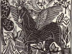 Caballo (1.911}, grabado en madera de Raoul Dufy para el bestiario o cortejo de Orfeo de Apollinaire. Dufy contribuyó a resucitar el género del grabado a principios siglo XX, especialmente para ilustrar ediciones de lujo.