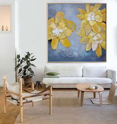 Hand Made Abstract Art, Acrylic Painting Large Canvas Art, Living Room Wall Art. Magic Flower. - By Biao, Celine Ziang Art.