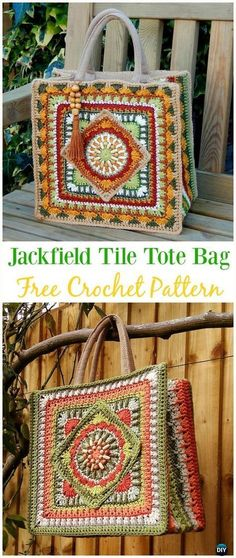The Jackfield Tile Tote Bag Free Crochet Pattern - Crochet Handbag Free Patterns Instructions